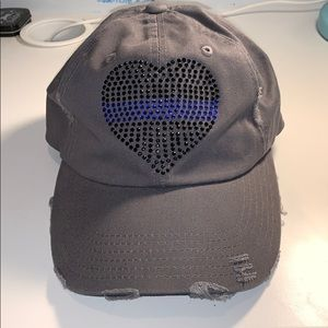 Thin Blue Line Grey Distressed Cap